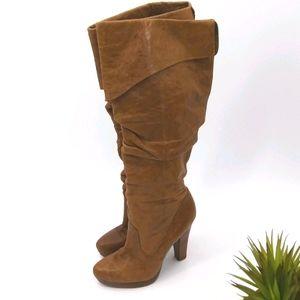 JESSICA SIMPSON TULIP Cognac Leather Tall Boots